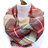 Epic Brand Infinity Scarf Collection for Men and Women | Comfortable Plaid Tartan Cashmere Blanket Circle Winter Scarves (Plaid Beige/Red)