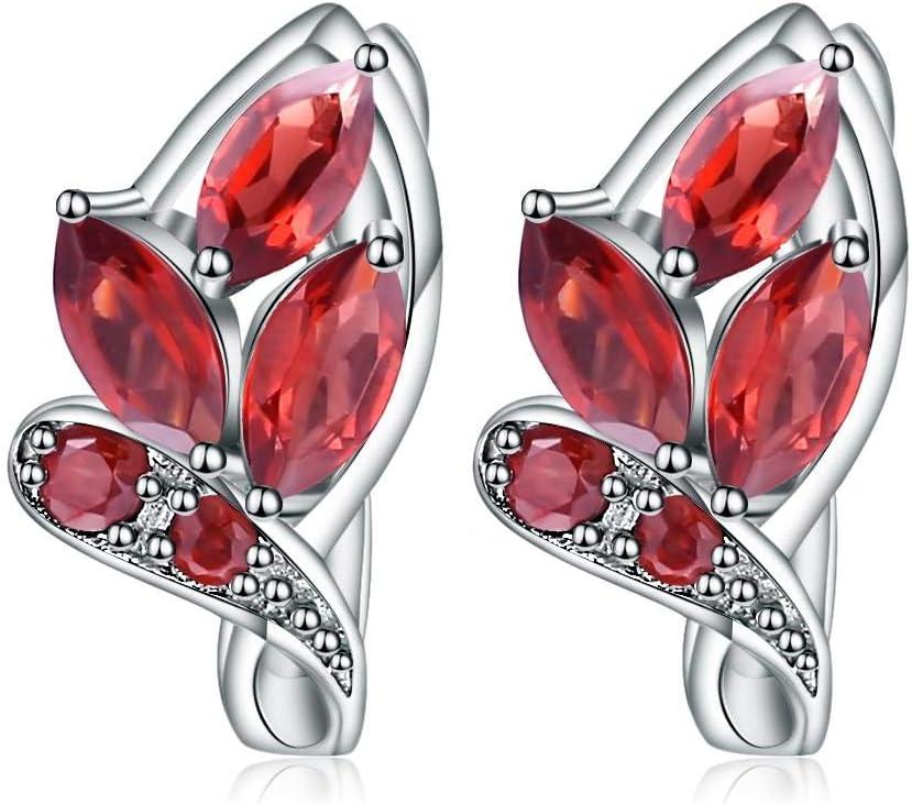 jiao 3.45Ct Pendientes de Piedras Preciosas de Granate Rojo Natural 925 Pendientes de botón con Forma de Hoja de Plata esterlina para Mujeres Joyería Fina