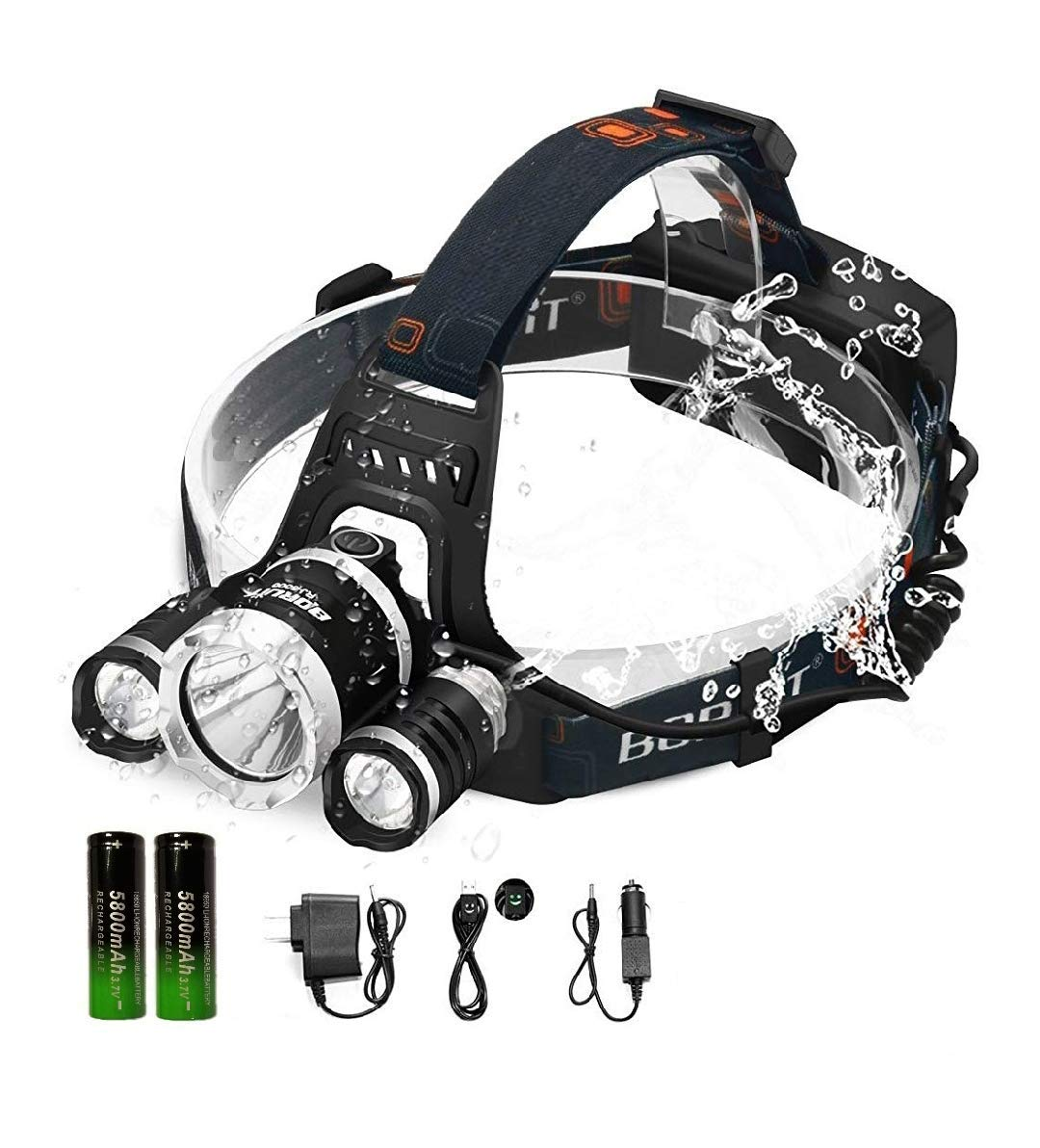 SUMO LED Head Lamp Brightest Head Lamp Equipped 6000 Lumens 3 Original Cree Led. Rechargeable Batteries Included, Headlamps Outdoor & Indoor.