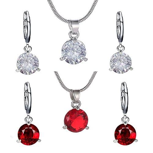 79edca4051f2 Orumlio Set de Joyería Collar con Colgantes Hecho de Cobre con Diamante de  Cubic Zirconia para