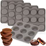 LEMEOSO 5pcs Silicone Peanut Butter Cup Molds 9-Cup Bite Size Mini Tart Pan Cookie Molds for Chocolate Fat Bombs Brownie