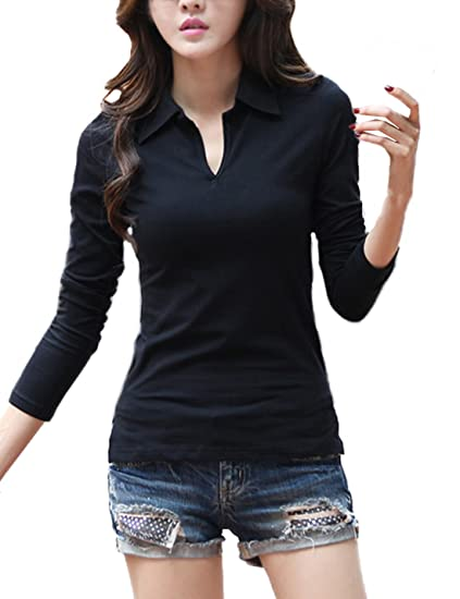 0164920707c Smartprix Womens Long Sleeve Polo Shirts Cotton V Neck Solid Color Tops  Tshirt Small Black