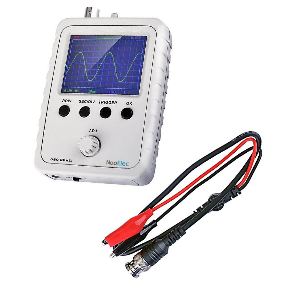 JYETech 'DSO Shell' Oscilloscope DIY Kit w/ Enclosure & Clip Probe by NooElec. Low Cost Digital Storage Oscilloscope with 2.4' TFT LCD. Model DSO150 (DSO 150); SKU 15001K NooElec Inc. DSO150 (DSO Shell 15001K)