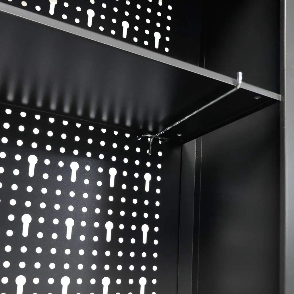 Armario de Pared con Puerta de Metal Estilo Industrial Color Negro 120 x 19 x 60 cm Wakects Armario de Herramientas de Pared con Agujeros Armario de Pared