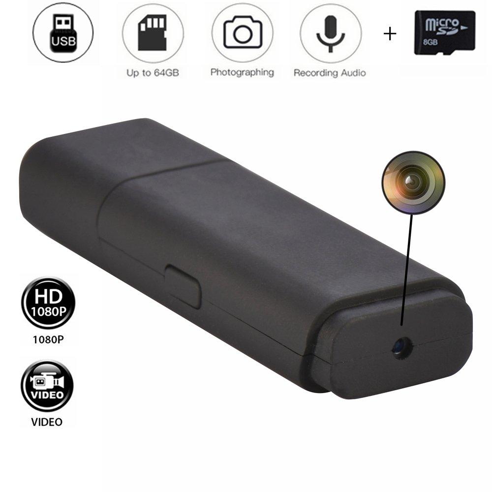 Porte-Clés Clef USB Non Poreux Mini Clé USB Espion Caméra Vidéo HD 1080P 8Go Micro Vidéo Enregistreur avec Son Codomoxo (B, Noir)