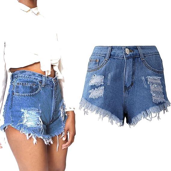 5114e89458d737 Juqilu Denim Shorts für Damen Sommer Sexy High Waist Kurze Jeans Shorts  Hose Hotpants Shorts Shorts