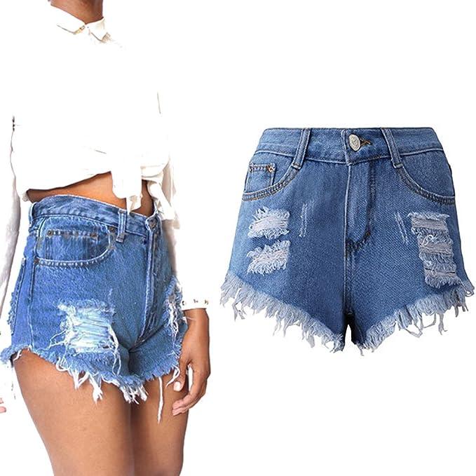 d9d85d866a8f Highdas Pantalones Cortos para Mujeres Color Sólido Shorts de ...