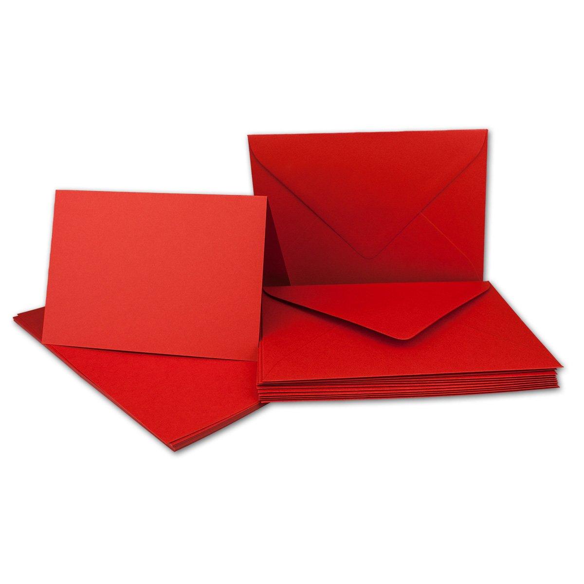 Faltkarten Set mit Brief-Umschlägen DIN A6   C6 in Rosanrot   100 Sets   14,8 x 10,5 cm   Premium Qualität   Serie FarbenFroh® B07255W9S1 | Attraktiv Und Langlebig