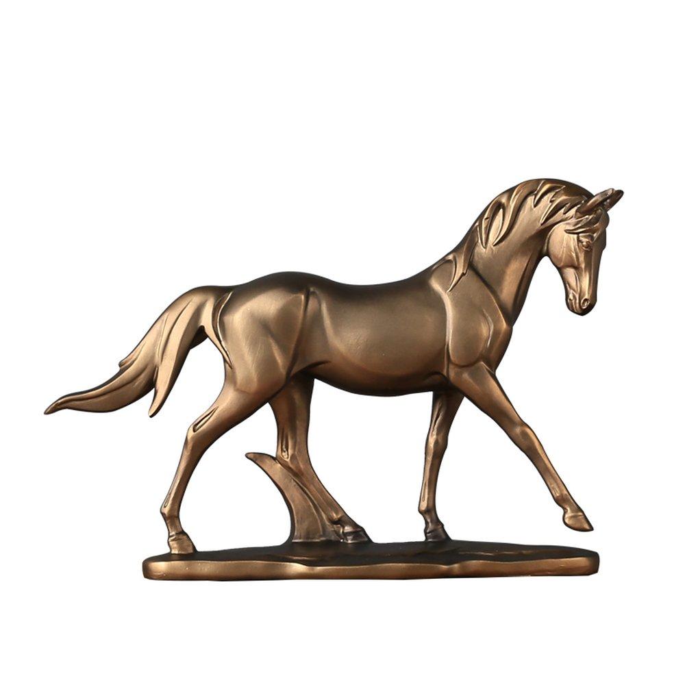 BWLZSP 1 PCS Neo-classical simple modern living room study model house resin animal flat horse sculpture Desktop display gift LU627152