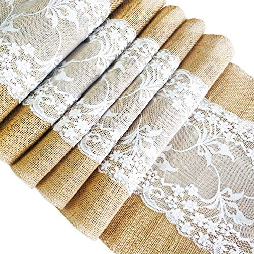 ADIDO EVA 3 pieces Burlap Table Runners with White Lace 12 x 108 inches Hessian Table Runners Natural Jute Decorating for Wedding Dining Room Any Events Burlap in Side and Lace in Middle