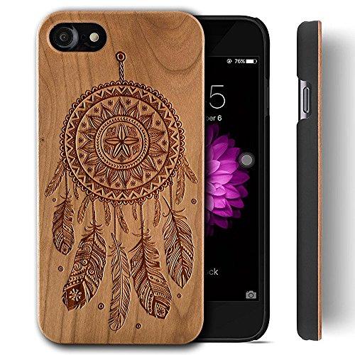 Funda Madera Tallada Protectora Cubierta para iPhone 7 Natural Wood Caja de PC Vintage Bumper Protector Carcasa para Apple iPhone 7 (4.7 inch) Cherry-Dreamcatcher