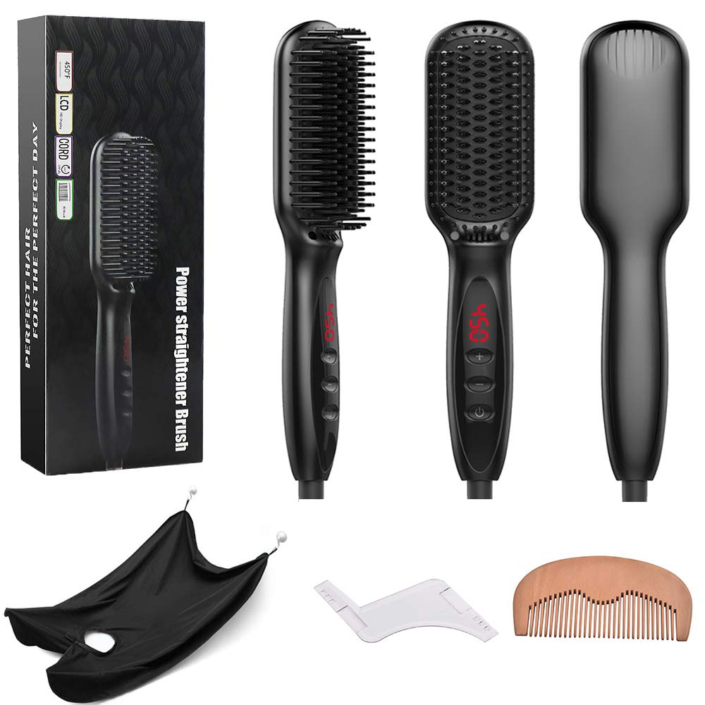 Beard Straightener Hair Brush For Men. Premium Electric Heated Anti-Scald Ceramic Comb Quickly Tames Fizzy Beards and Head Hair. Adjustable Temperature, LED Display Built In Safety Features.