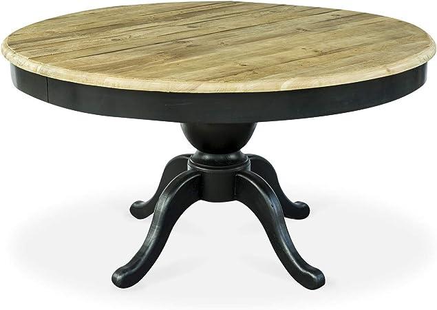 Intensedeco Table Ronde Extensible En Bois Massif Sidonie Noir