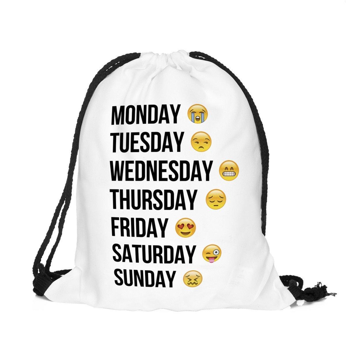 Aigemi Unicorn Print Drawstring Gym Sport Bag, Large Lightweight Gym Sackpack Backpack School Rucksack (Week-white)
