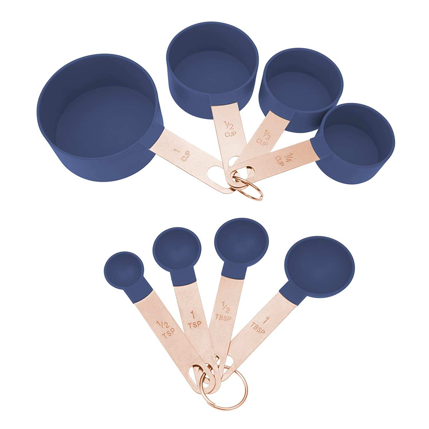 COOK With COLOR 8-Piece Navy Nylon Measuring Cups and Measuring Spoon Set With Rose Gold Copper Handles