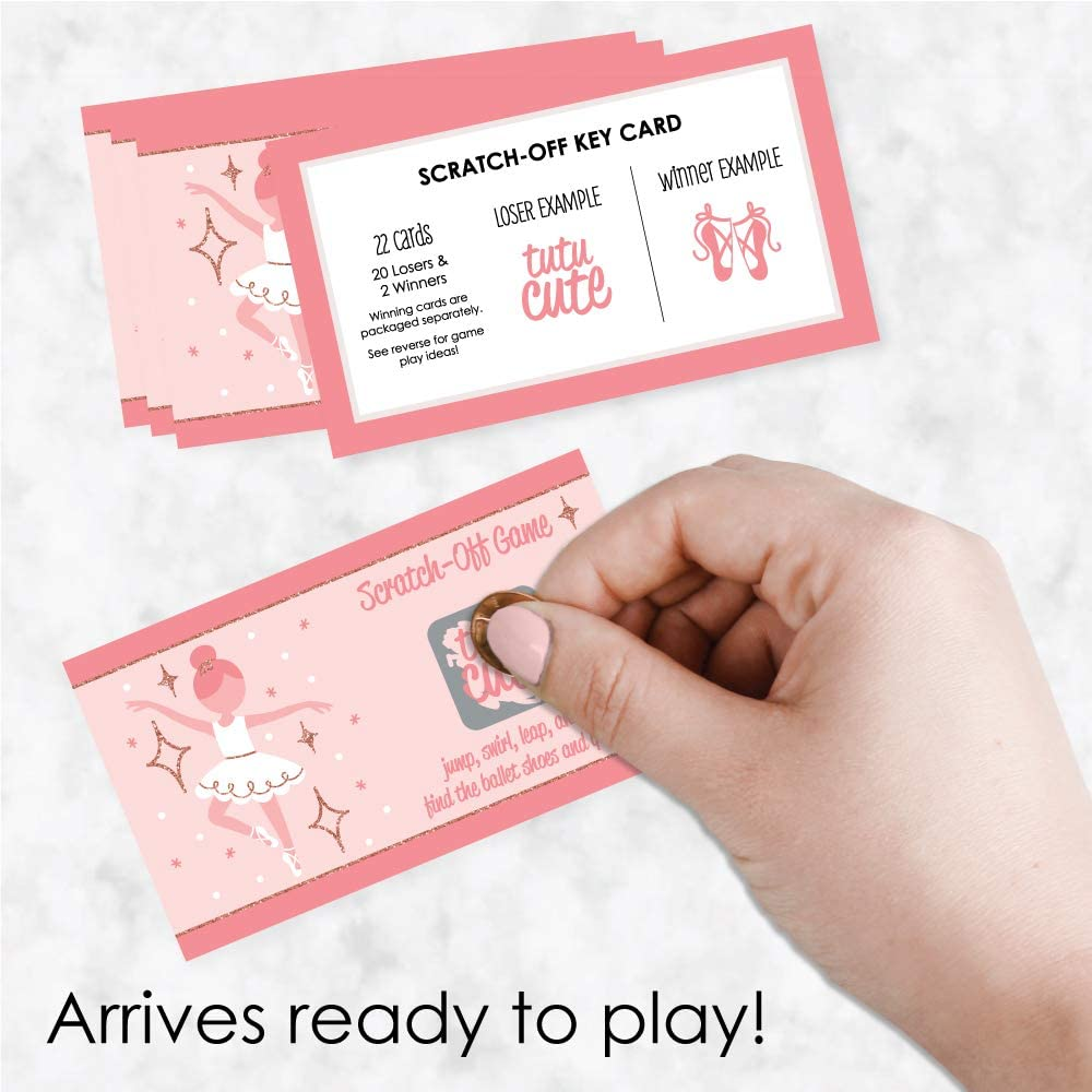 22 Count Ballet Birthday Party or Baby Shower Game Scratch Off Cards Big Dot of Happiness Tutu Cute Ballerina