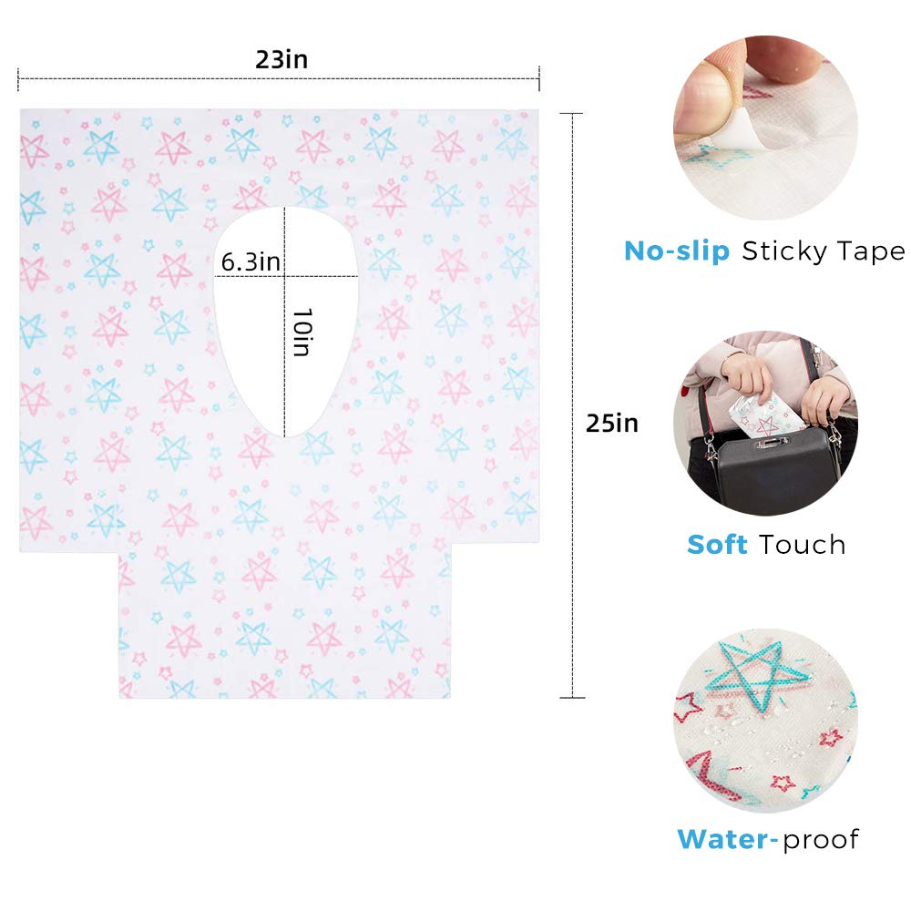 Paper Potty Seat Covers Individually Wrapped Waterproof Non Slip Circle Pattern for Adults Kids Toddlers Travel Pentagram Toilet Seat Covers Disposable 20Pack
