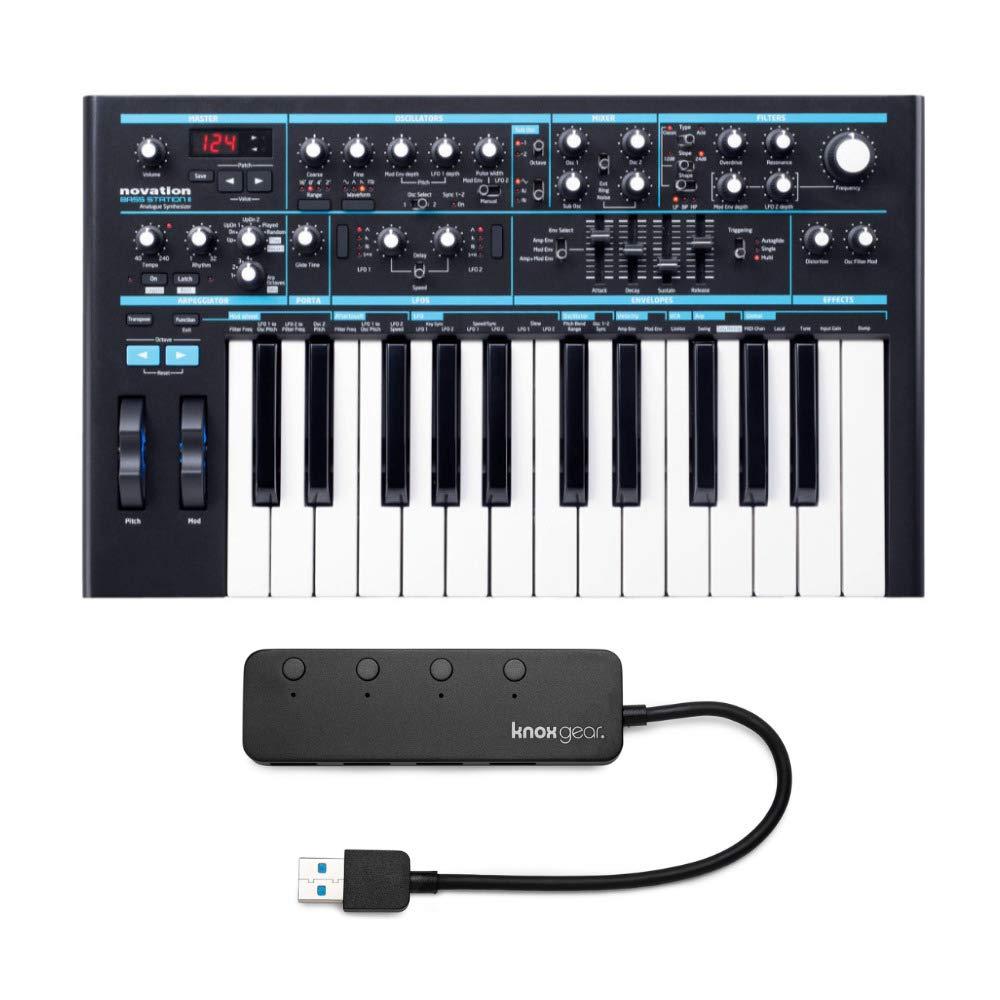 Novation Bass Station II Analog Mono-Synth with Knox Gear 3.0 4 Port USB Hub Bundle