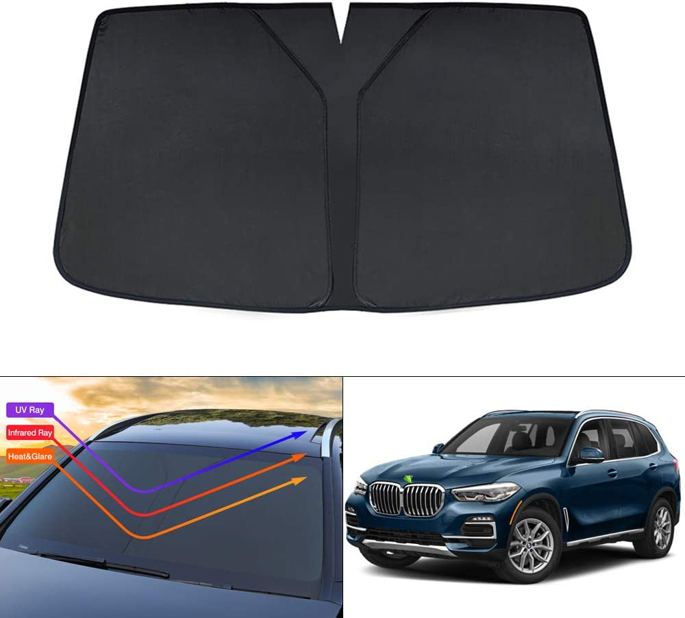 KUST Windshield Sun Shade for 2020 BMW X5 Sunshade for 2019 2020 2021 BMW X5 SUV Blocks UV Rays Sun Visor Protector Foldable Keep Your Car Cooler