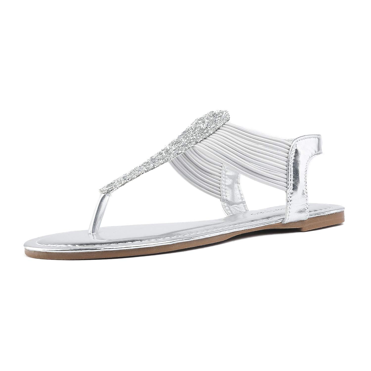 DREAM PAIRS SPPARKLY Women's Elastic Strappy String Thong Ankle Strap Summer Gladiator Sandals Silver Size 10