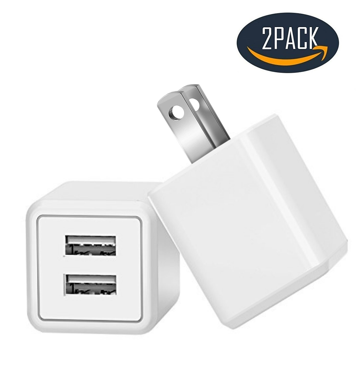 Charger, Charging 2.4A Universal Dual Adapter 2-Port USB Portable Travel Adapter Power Charger for iPhone, iPad, Samsung Galaxy, Nexus, Bluetooth Speaker Headset & Power Bank (2-Pack) (White)