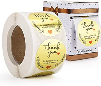 1.5Inch Thank You for Supporting My Small Business Stickers Labels Roll, Gold Foil Decorative Sealing Labels, 500 pcs Packaging Stickers for Business Boutique Bags&Merchandise Bags