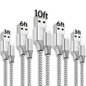 5Pack [3/3/6/6/10ft] Lightning Charging Cables, MFi Certified iPhone Charger USB Data Cord High Speed Cable Compatible with iPhone 12Pro Max/12Pro/12/11Pro Max/11Pro/11/XS/XR and More-Silver&White