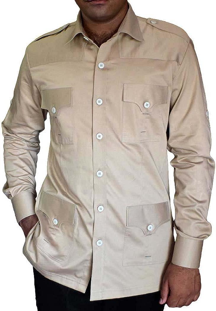 INMONARCH – Safari Hombre en Caqui de algodón Bush de Bolsillo (4 Camisas HS103: Amazon.es: Ropa y accesorios