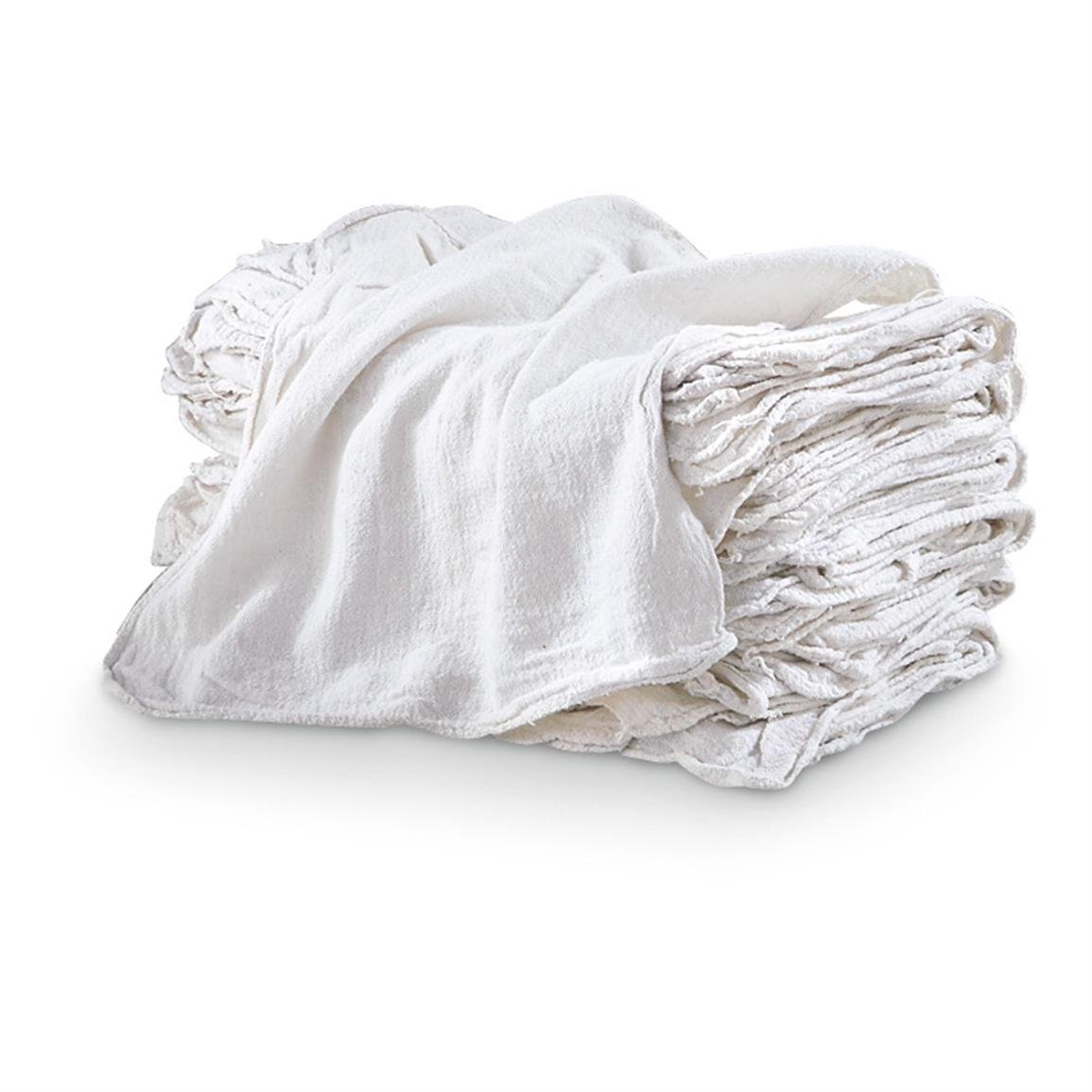 MHF Brand Shop Towels-PREMIUM A GRADE-14x14 Inch-NEW 100% Cotton (100, White)