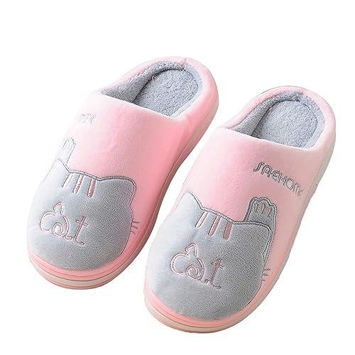 Zapatillas de algodón para Mujer,Pareja de Gatos Mantener Caliente resbalón Engrosamiento Interior: Amazon.es: Zapatos y complementos