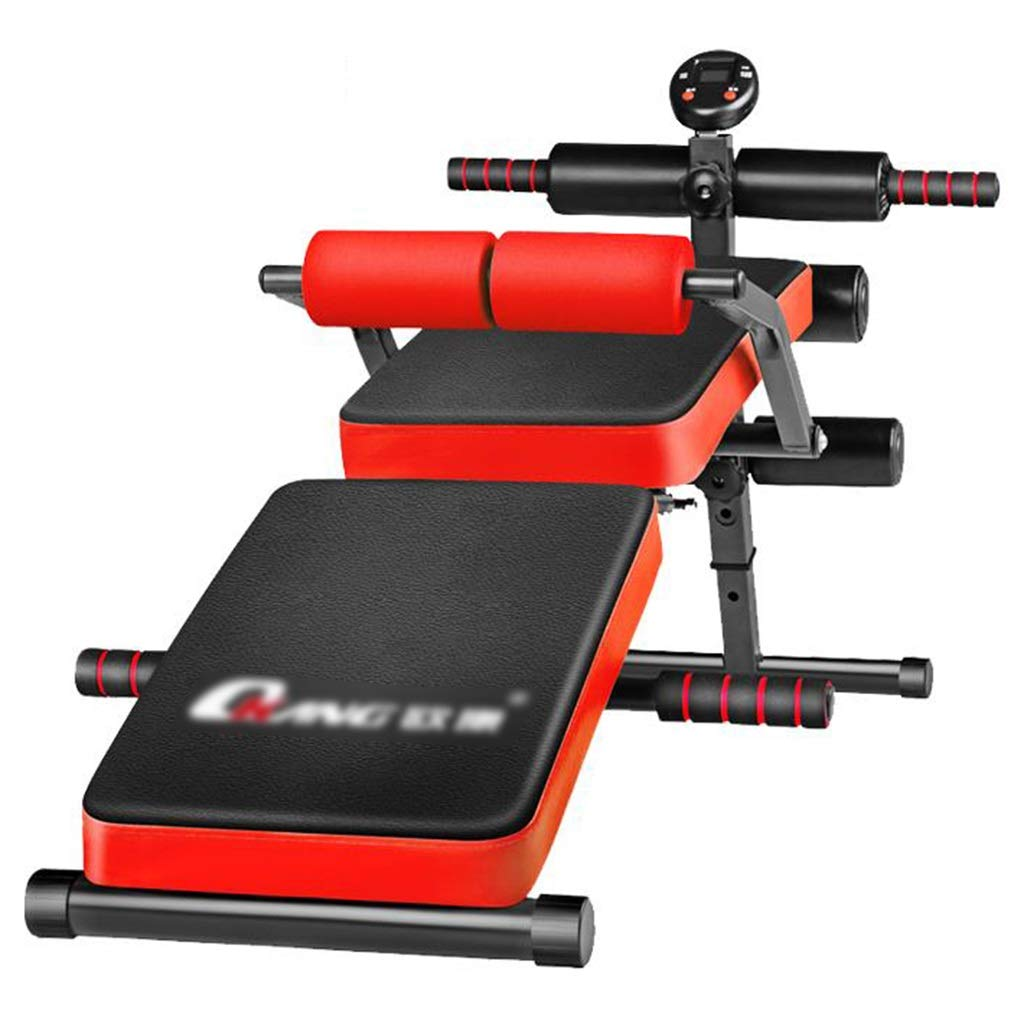 Red 1447058cm Lazy Dumbbell Bench Abdominal Muscle Training Board Comfortable Folding Supine Board MultiFunction Adjustable Bench Situp Weight Bench Standard Weight Benches (color   Red, Size   144  70  58cm)