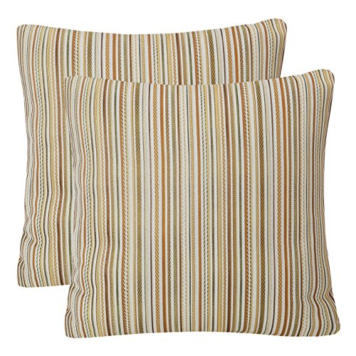 Pack of 2 Simpledecor Throw Pillow Covers Couch Pillow Shells,20X20 Inches,Jacquard Colorful Stripes,Multicolor Brown