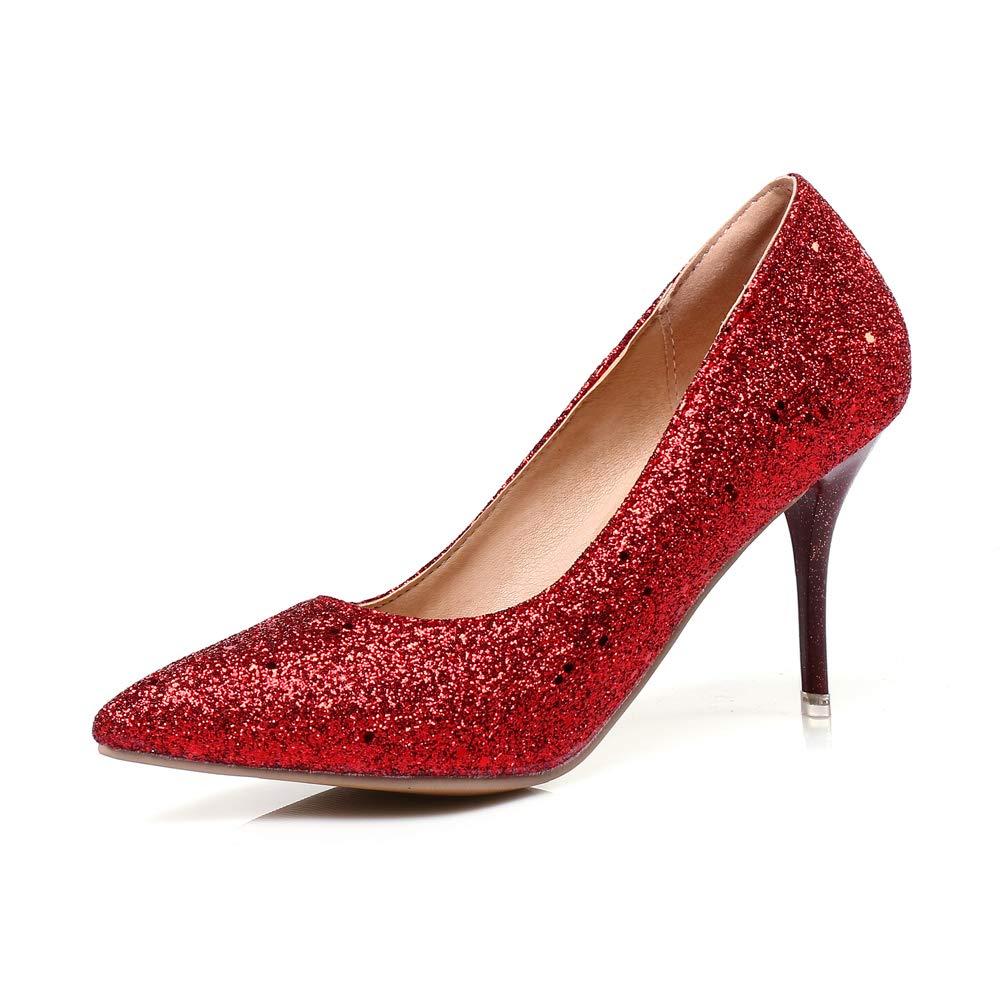 HLG Boda nupcial nupcial nupcial para mujer con tacón bajo, zapatos de tacón de fiesta para mujer, zapatos de noche,Rojo,36EU 023384