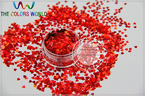 Kamas LM-3 Size 3 mm laser holographic Red color Glitter paillette Heart shape spangles for Nail Art and DIY supplies - (Color: 200g)