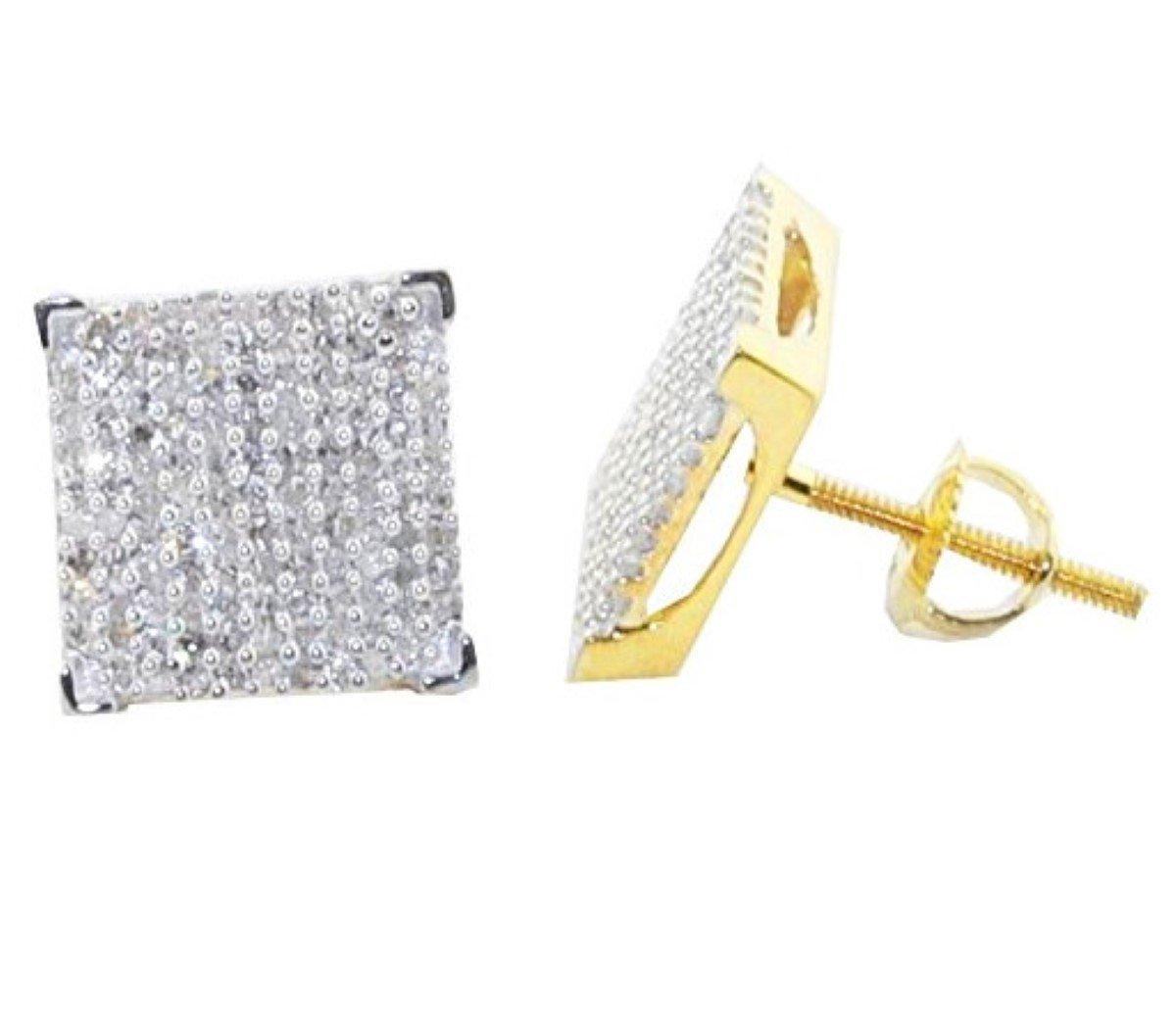 10mm Wide Diamond Earrings 1/2cttw 10k Yellow Gold Square Shaped Screw Back(i3, J/k)