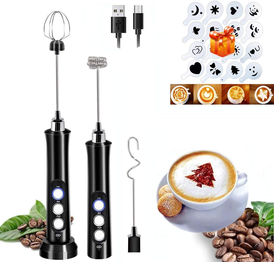Milk Frother Handheld USB Rechargeable Foam Maker with 16 Pcs Art Stencils, 3 Speeds Electric Egg Beater, Stainless Coffee Frother with 3 Whisks for Bulletproof Coffee, Latte, Cappuccino, Matcha, Hot Chocolate