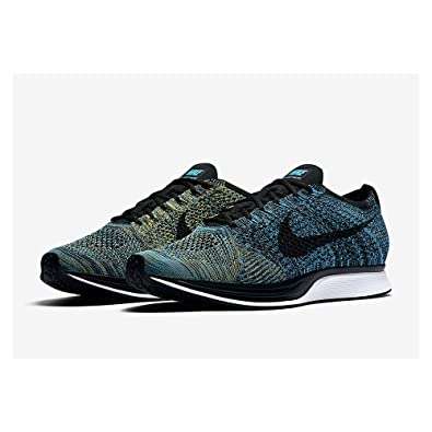 new styles fdde1 4e510 Image Unavailable. Image not available for. Color  Nike Mens Flyknit Racer  Fabric Hight, Blue Glow Black-Yellow Strike,