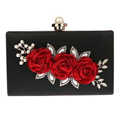 TOOKY Women's Satin Flower Evening Hand Bag Clutch Pearl Beaded Wedding Bag  (Black)