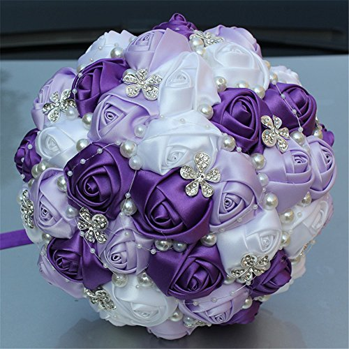 Advanced Customization Romantic Bride Wedding Holding Bouquet Roses with Diamond Pearl Ribbon Valentine's Day Bouquet Confession Many Colors for Choose 18cm (Light Purple+White)