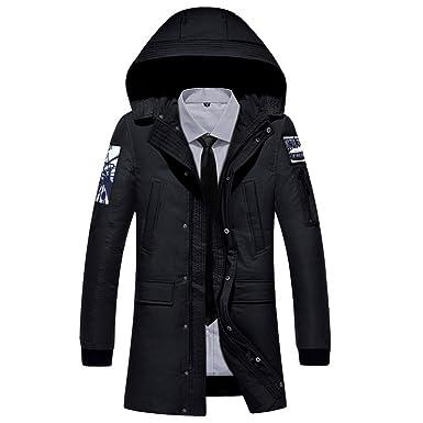 5d872285f Amazon.com  Men s Hooded Puffer Down Jacket Zippered Mid Length Warm ...