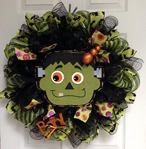Halloween Deco Mesh Wreath Smiling -