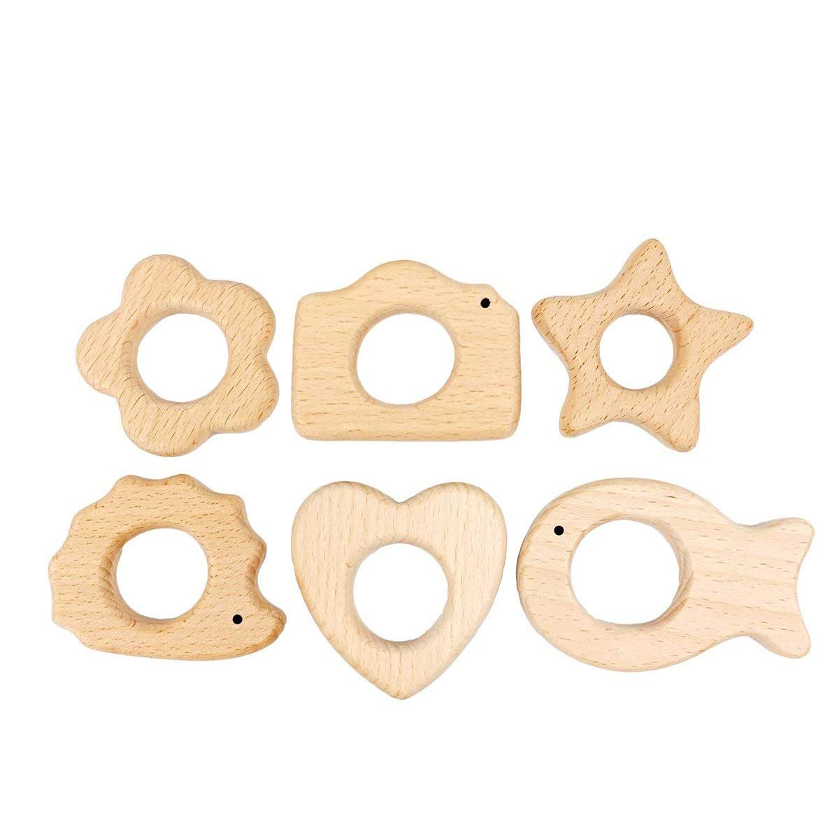 Best for baby 6PC Baby Teether jouets Eco-friendly Naturel Pendentif Beech Bois cadeau DIY Bracelet en bois Teether for baby