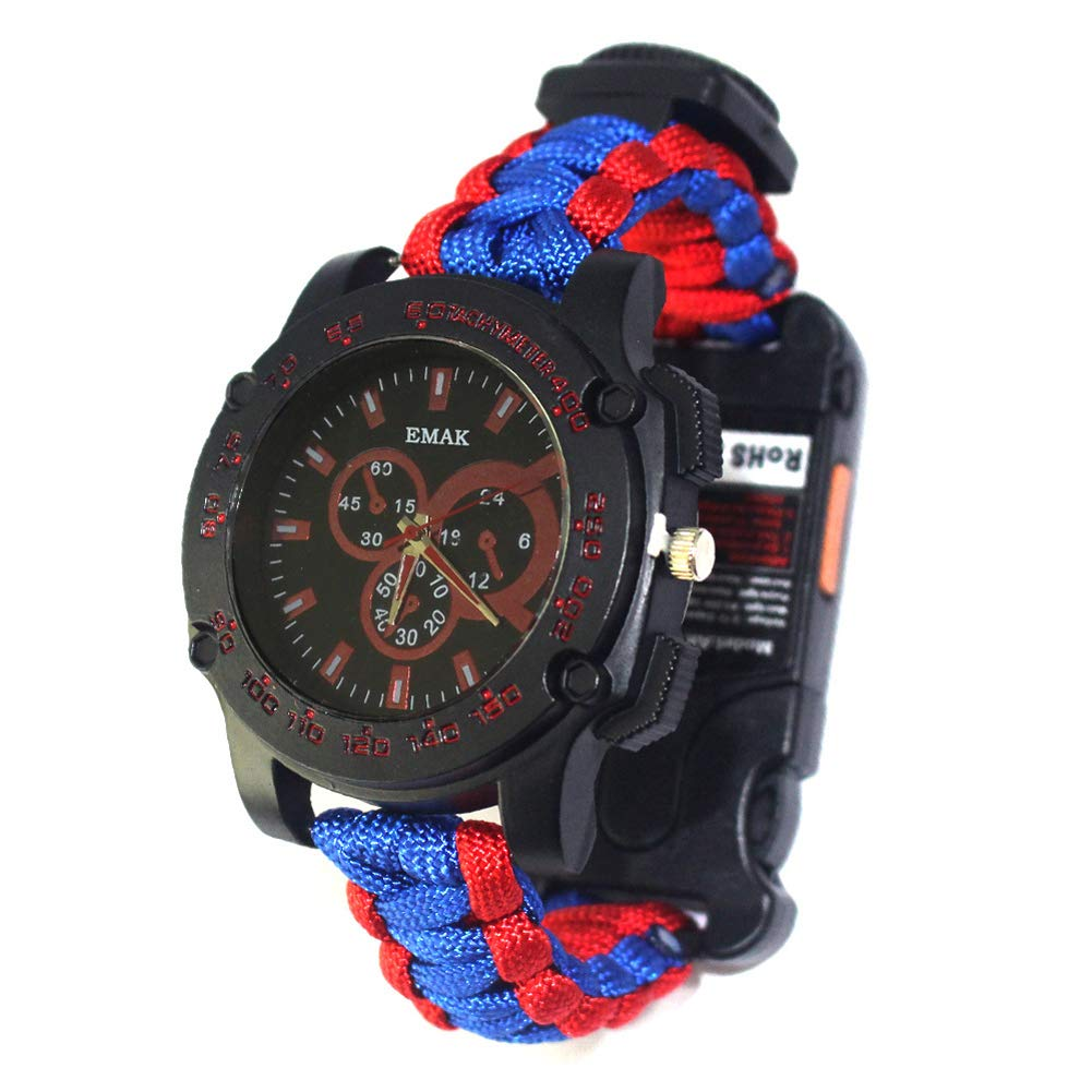 SPORS Outdoor Multi-Function Umbrella Rope Woven Watch, Camping Remote Infrared Watch, Emergency Survival Watch-Redandblue by SPORS