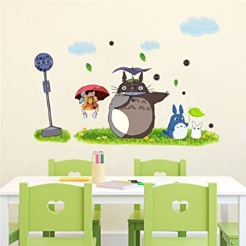 Jiquan My Neighbor Totoro Wall Decals Stickers, Removable Waterproof DIY  Wall Art Mural Stickers For