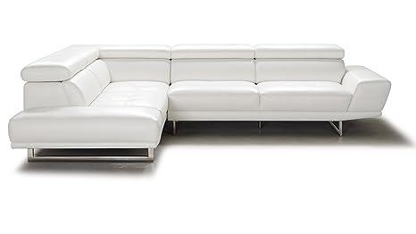 Amazon.com: Zuri Furniture Posh White Top Grain Leather ...
