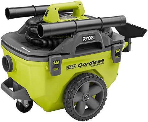 Ryobi 18-Volt ONE 6 Gal. Cordless Wet Dry Vacuum Bare-Tool with Hose, Crevice Tool, Floor Nozzle and Extension Wand