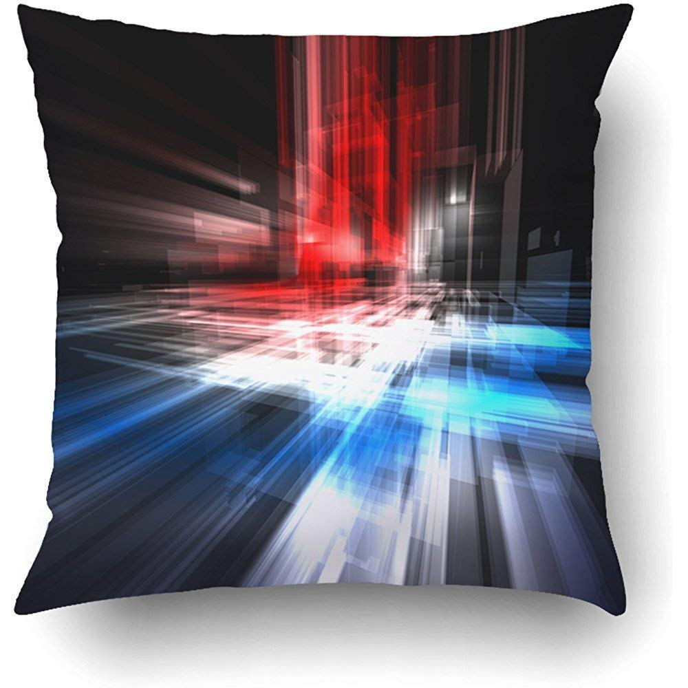 I DO Pillow Covers Decorative Abstract Technology With Translucent Rectangles A Blue Red And White Light Bulk With Zippered Square Pillow Case For Home Bed Couch Sofa Car One Sided