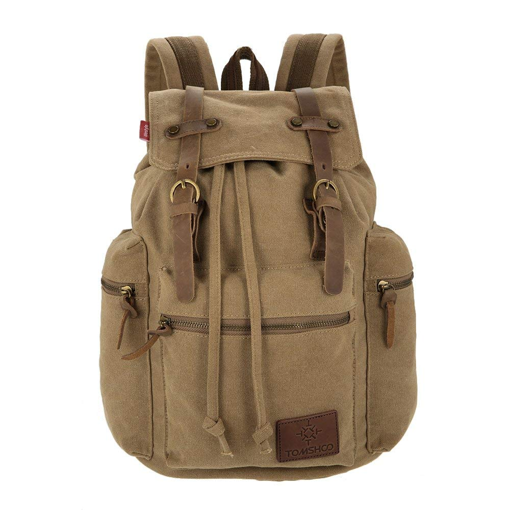 13e6cb736 Amazon.com: TOMSHOO Multifunction Canvas Backpack Vintage Shoulder Bag  Travel Bag Outdoor Leisure Rucksack Men's Laptop Backpack: Sports & Outdoors