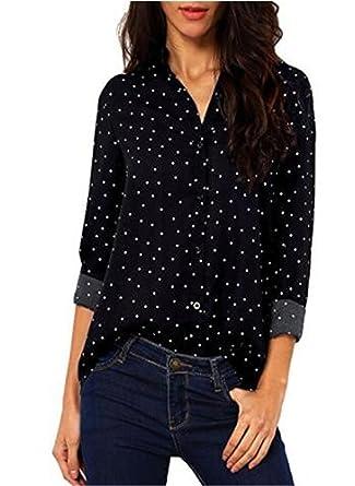 AILIENT Mujer Camiseta Mangas Largas Camisas V Cuello Blusa Elegante Casual Ocasionales Camisetas Estampado Bonitas: Amazon.es: Ropa y accesorios