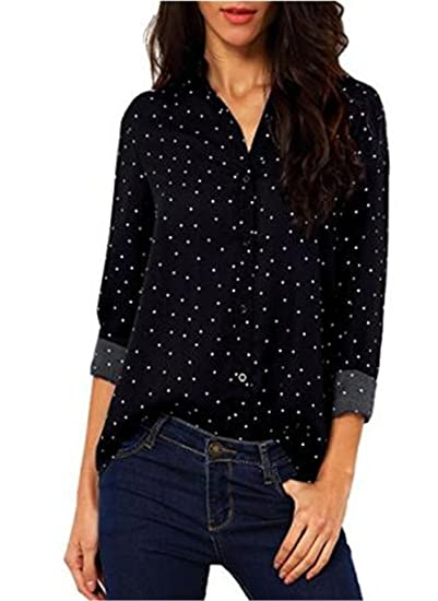 AILIENT Mujer Camiseta Mangas Largas Camisas V Cuello Blusa Elegante Casual Ocasionales Camisetas Estampado Bonitas